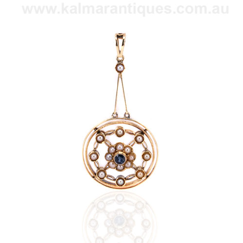 15ct gold Edwardian era sapphire and pearl pendant