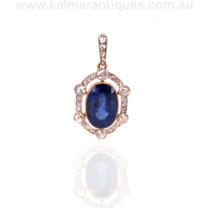 Untreated natural sapphire and diamond antique Edwardian pendant