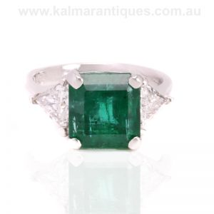 4.60 carat emerald and diamond ring set in platinum