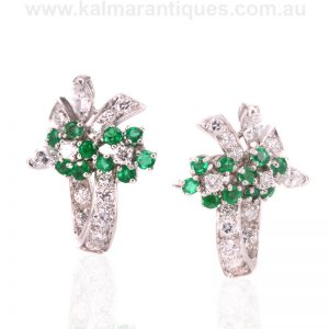Vintage emerald and diamond earrings made in the 1950's