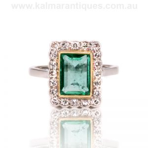 18ct and platinum emerald and diamond ring from the Art Deco era