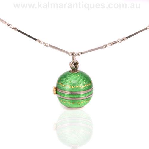 Green enamel ball pendant watch Nadine