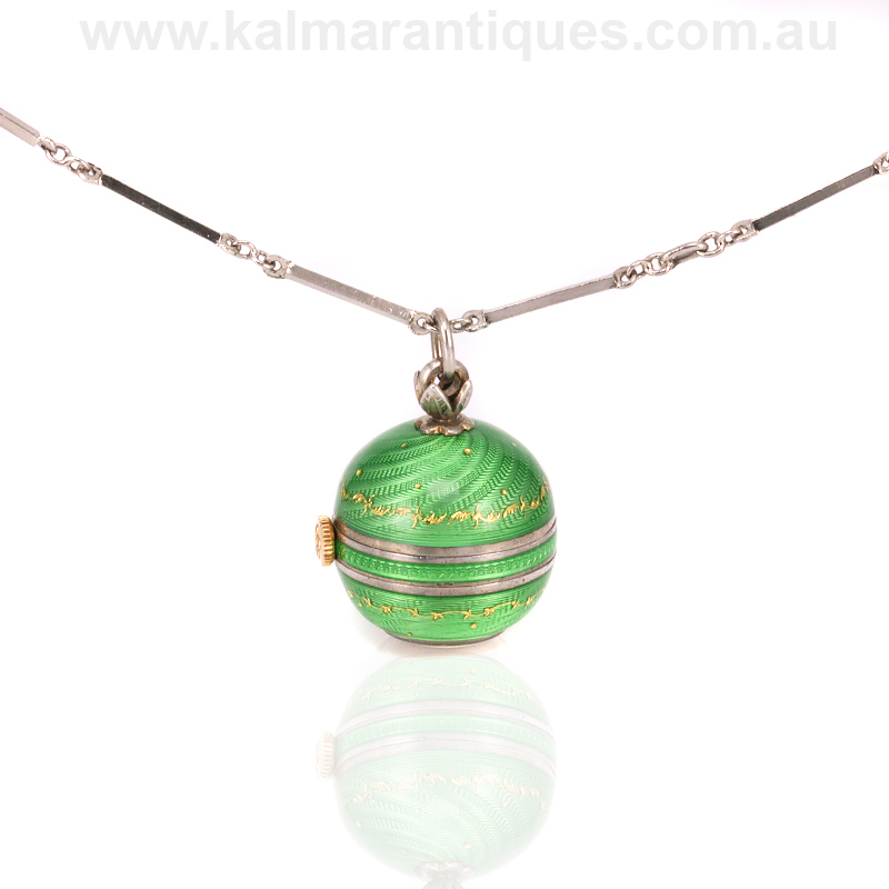 Vintage green guilloch enamel ball pendant watch mozeypictures Choice Image