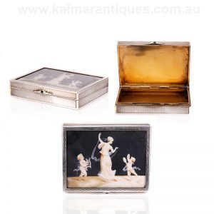 Antique silver box made by André Delpy with a hand painted scene