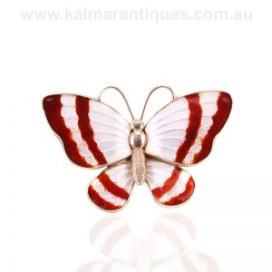 Vintage red and white enamel butterfly by Volmer Bahner