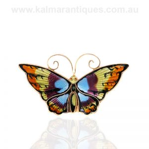 Vintage enamel butterfly brooch by David Andersen