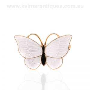Vintage white enamel butterfly made by Volmer Bahner