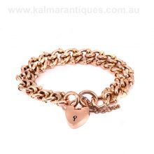 9 carat rose gold antique fancy curb link padlock bracelet