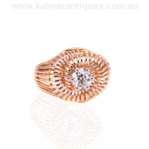 18 carat rose gold Retro era diamond ring made in France in the 1950's