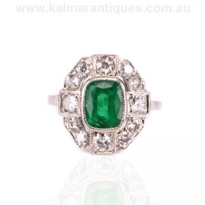 Art Deco emerald and diamond ring made in France in the 1920's