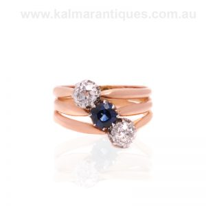 Art Deco 18 carat rose gold sapphire and diamond ring
