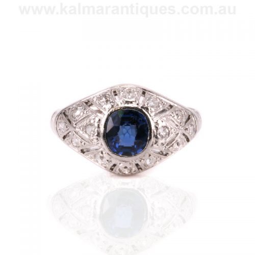 French Art Deco cushion cut sapphire and diamond ring