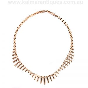 Vintage rose gold fringe necklace made in London in 1977