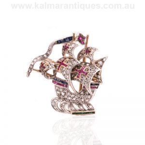 Antique ruby, sapphire, emerald and diamond galleon brooch