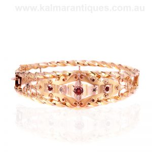 Antique garnet and rose cut diamond bangle made in the early 1900's