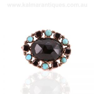 Mid-Victorian antique garnet and turquoise brooch made in the 1860's