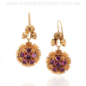 Antique rhodolite garnet cluster earrings made in the 1880's