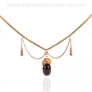15 carat antique garnet necklace with a locket compartment