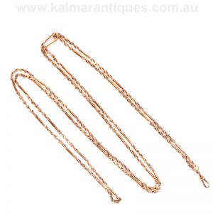 Victorian era antique fancy guard chain in 9 carat rose gold
