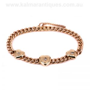 15 carat rose gold antique bracelet made with diamond set hearts