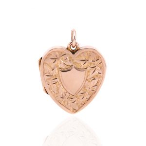 9ct rose gold heart shaped locket made in 1903