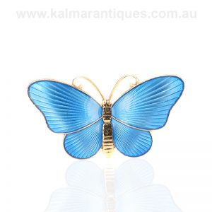 Vintage powder blue enamel butterfly by Ivar Holth