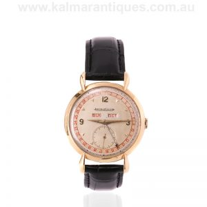 18 carat gold vintage triple date Jaeger LeCoultre watch from the 1940's