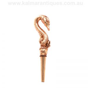 Antique pocket watch key/pendant in the form of a swan