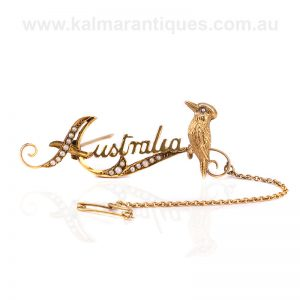 Antique Australia brooch with a kookaburra made by Duggin, Shappere & Co