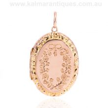 9 carat rose gold oval antique photo locket made in 1911