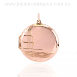Art Deco double sided photo locket made in rose gold