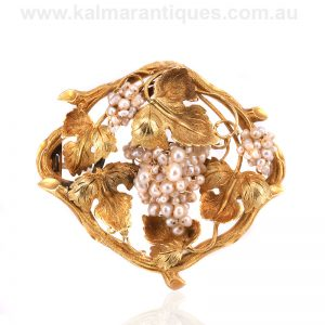 Rare gold and natural pearl antique brooch attributed to Alfred Lorking