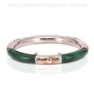 Art Deco malachite and sterling silver bangle made in the 1930's
