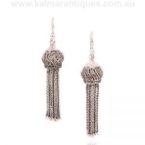 Sterling silver Art Deco tassel drop earrings made in the 1930's