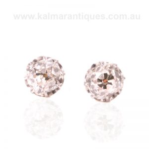 Gorgeous 1.26 carat antique mine cut diamond stud earrings