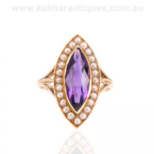 Murrle, Bennett & Co amethyst and pearl ring made in 15 carat gold
