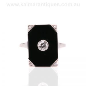 Art Deco onyx and diamond ring hand made in gold and platinum