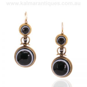 Antique onyx drop earrings made in the Victorian era