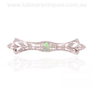 Art Deco opal and diamond brooch made in platinum