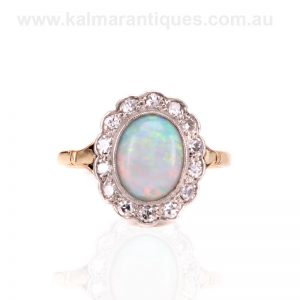 Art Deco solid opal and diamond cluster ring hand made in the 1920's