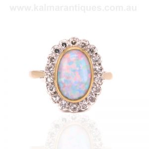 Art Deco solid opal and diamond cluster ring