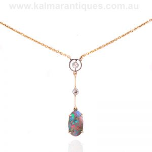 15 carat gold and platinum Art Deco boulder opal and diamond necklace