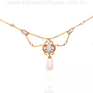 Art Nouveau solid opal and natural pearl necklace made in the 1890's