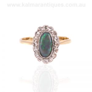 Art Deco Lightning Ridge black opal and diamond cluster ring