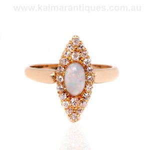 Antique opal and diamond ring made in 1903