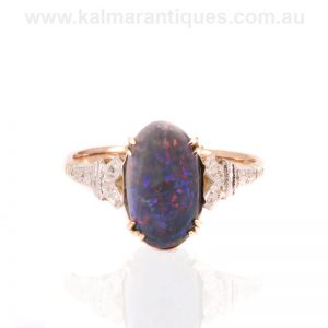 Art Deco solid black opal ring by Saunders in the 1920's