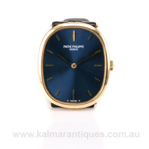 Blue dial 18ct Patek Philippe Ellipse reference 3548
