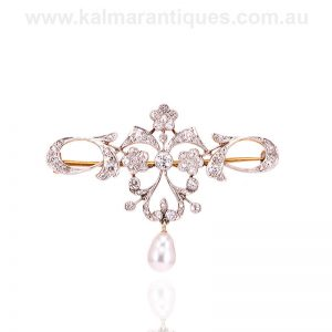 Antique diamond and pearl brooch from the Art Nouveau era