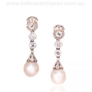 Platinum Art Deco era pearl and diamond drop earrings