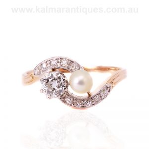 Antique pearl and diamond